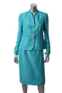Kasper New Blue Long Sleeve Button Front Lined Knee Length Skirt Suit