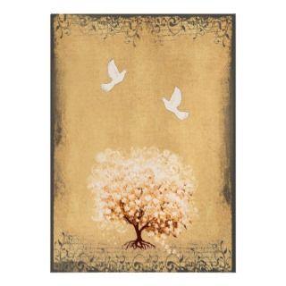 Heart Leaf Coral Tree Dove Love Bird Weddings Custom Invite