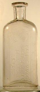Karl Simmons Metropolitan Drug Store St Paul MN Bottle 1800S