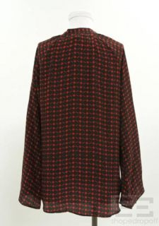 Winter Kate Black Red Printed Silk Top Size Small