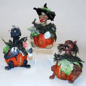 Katherines Collection Pumpkin Bobble Head Figurine New
