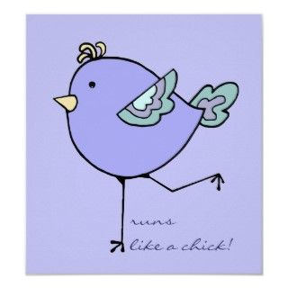 Love Running with Cute Cartoon Chick, Bird custom Poster