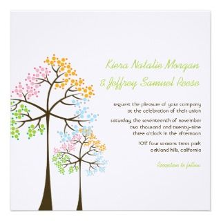 fatfatin Four Seasons Trees Wedding Invitation