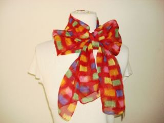 Kathie Lee Collection Made Italy Scarf Neck Wrap Red Square Print