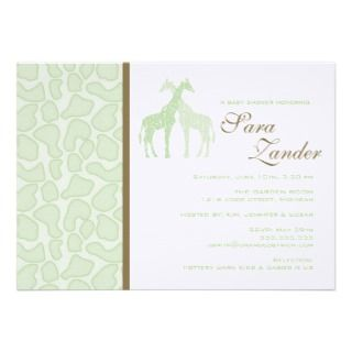 Twin Giraffes Baby Shower Invitation   Girls
