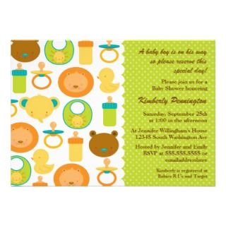 Wild animals boys baby shower party invitation