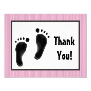 Personalized Baby shower thank you cards Baby feet Custom Announcement
