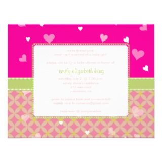 Pretty in Pink Little Hearts baby shower Personalized Invites