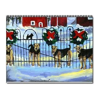 Artwork Home Office  Airedale Calendar w/12 images Wall Calendar
