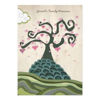 Family Reunion Heart Tree Modern Vector Invite