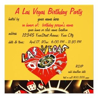 Las Vegas Casino Theme Birthday Party Personalized Invite
