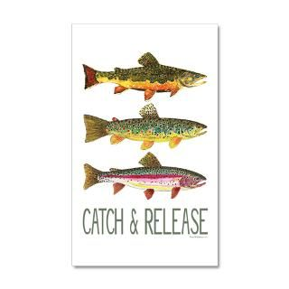 Brook Wall Decals  Catch   Release 3 Fish 38.5 x 24.5 Wall Peel