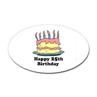 Happy 25th Birthday Oval Decal for $4.25