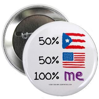 Gifts  America Buttons  Puerto Rico/USA Flag Design 2.25 Button