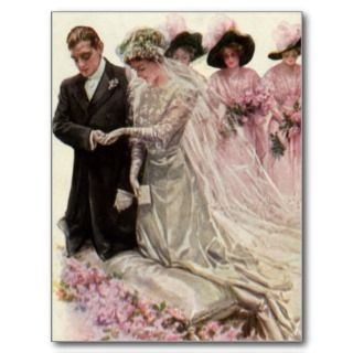 With this Ring, Romantic Vintage Wedding Love Post Cards