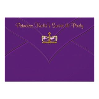 Purple Gold Princess Crown Sweet 16 Party Personalized Announcements