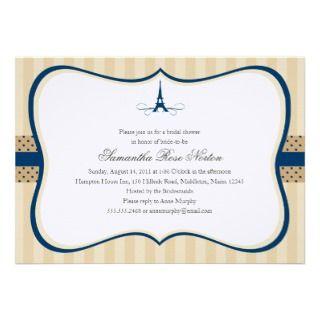 Eiffel ower Paris Bridal Shower Personalized Invies