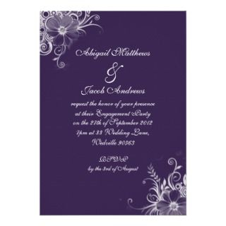 Purple Violet And White Flowers Engagement Party Announcement