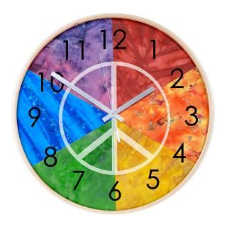 Color Wheel Peace Sign Wall Clock for $54.50