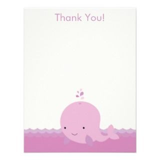Modern Whale Baby Shower Thank You Flat Card Personalized Announcement