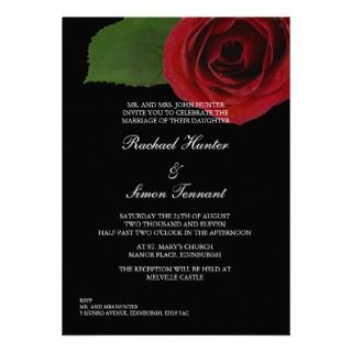 Classy Red Rose Wedding Invitiation  Black Invitation