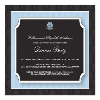 Elegant Damask Dinner Party Invitation (blue)
