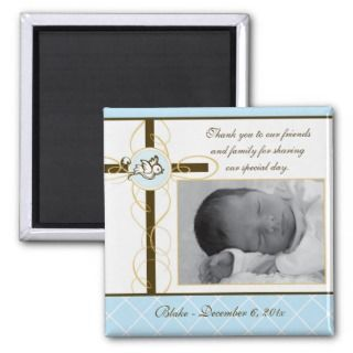 Boy Baptism/Christening Favor   Photo Magnet
