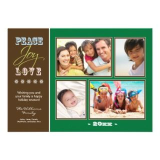 Peace Joy Love Family Holiday Photocard (green) Custom Invites
