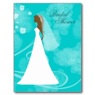 Aqua blue elegant floral bridal shower postcard