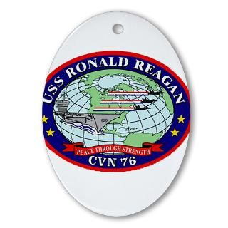 USS Ronald Regan CVN 76 Navy Ship Oval Ornament for
