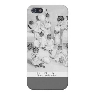 Cat Pillow Fight   Funny Cats Case by Louis Wain iphone cases by