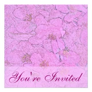 Pink Apple Blossoms Color Pencil Square Invitation