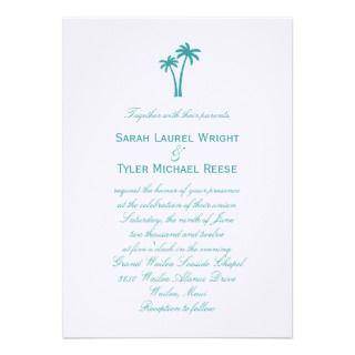 Palm Trees Wedding Invitation   White/Aqua