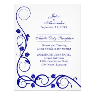 Elegant Royal Blue Swirls Reception Cards Personalized Invite