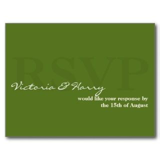 Sage green RSVP simple wedding response card Post Cards