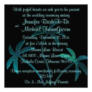 Tropical Turquoise Palm Tree Wedding Invitation
