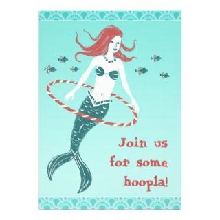 Hooping Mermaid Party Invitiation Custom Announcements