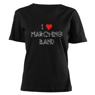 Love Marching Band Womens V Neck Dark T Shirt