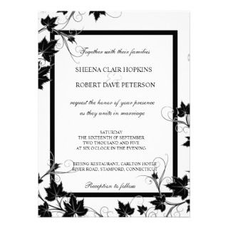Black and White Swirls Leaves Modern Fall Wedding Announcement