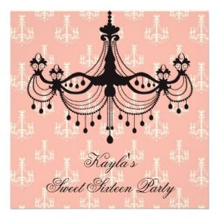 Cream Chandelier Sweet 16 Party Custom Invitations