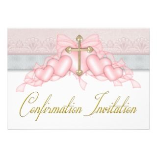Pink Gray Gold Cross Girls Pink Confirmation Personalized Announcement