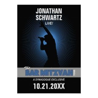 Rock Star Bar Mitzvah Invitation, Black/Silv/Blue