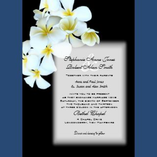 Hawaiian Flowers Custom Black Wedding Invite invitation