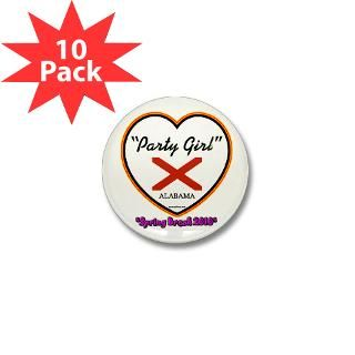 Party Girl USA Spring Break Alabama Mini Button (1