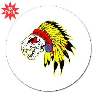 Skull Indian Headdress 3 Lapel Sticker (48 pk)
