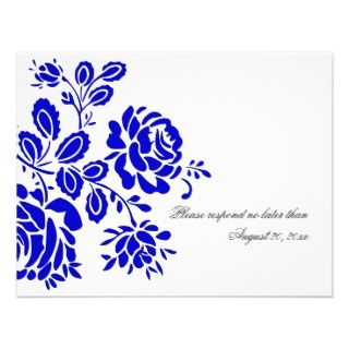 Beautiful Florals in Royal Blue RSVP / Reply Cards Personalized