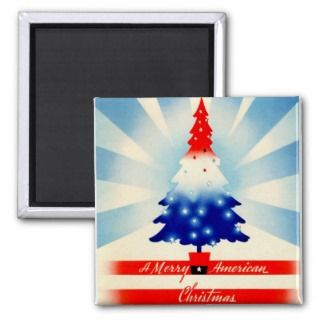 Merry American Christmas Tree Patriotic Magnet