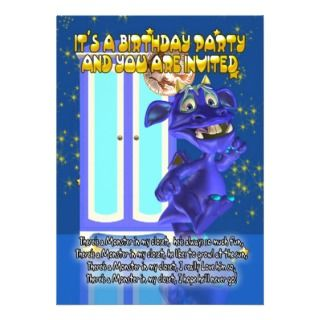 Childrens Monster Birthday Party Invitation With