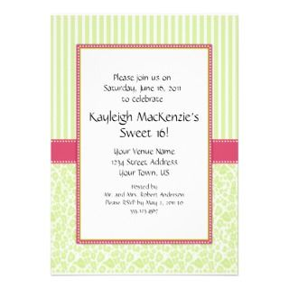 Lime Green and Pink Sweet 16 Invitation