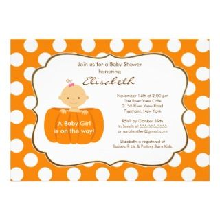 Fall Pumpkin Baby Shower Invitation Girl